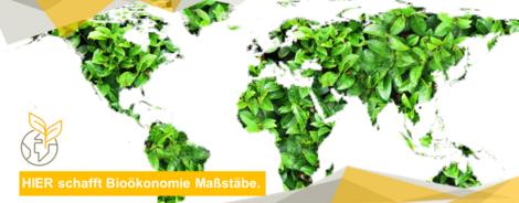 Ansicht einer Weltkarte. Die Kontinente werden aus grünen Pflanzenblättern gebildet, die Meere als weiße Flächen dargestellt.